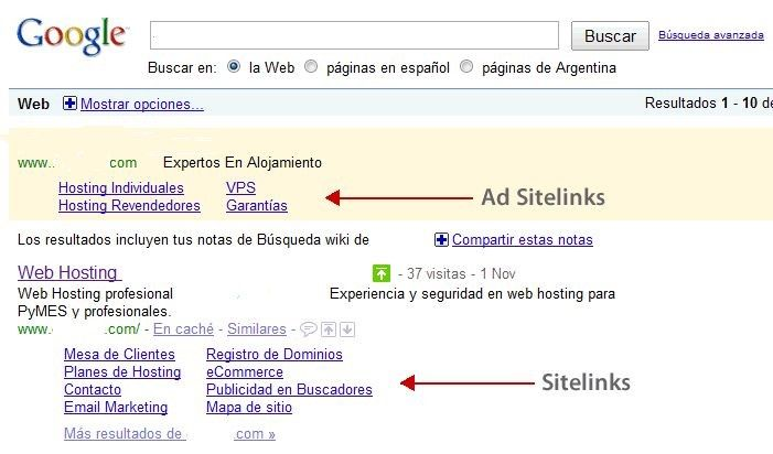 Google Ad Sitelinks SEM