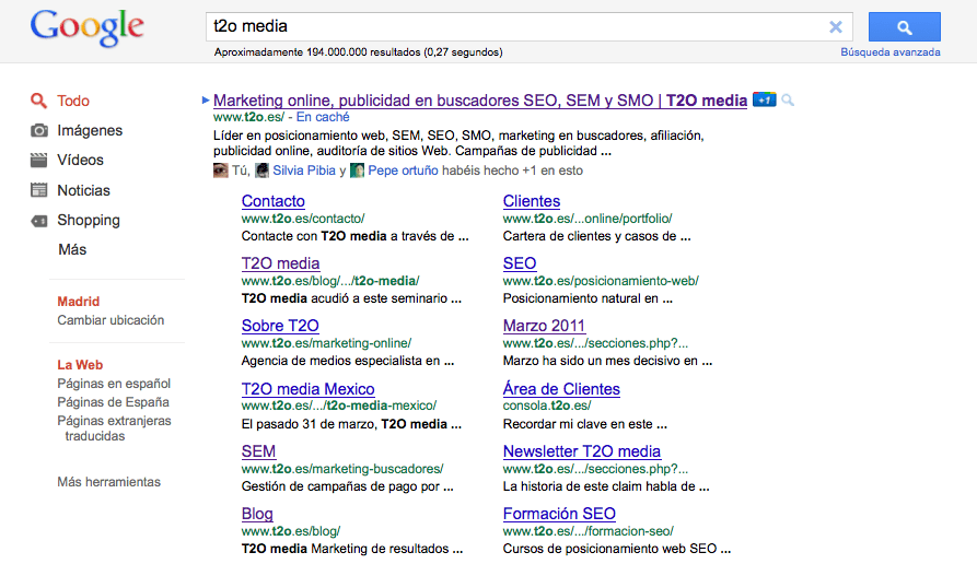 t2o media serps site links