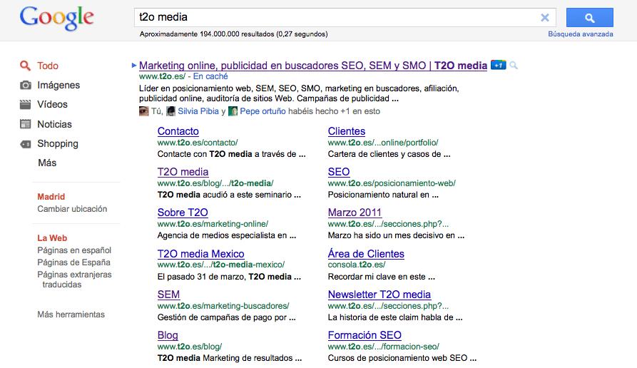 t2o media serps site links