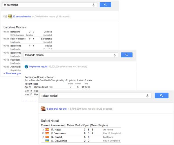 Google.com muestra resultados deportivos detallados