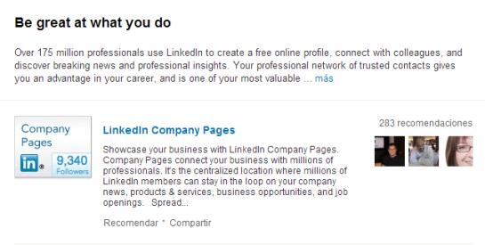 Productos en página LinkedIn