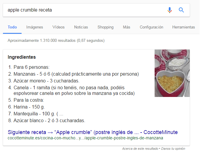 featured snippets formato lista