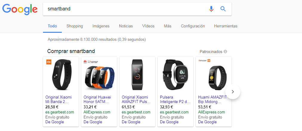 Búsqueda Google Shopping