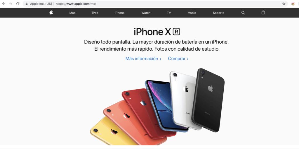 Sitio web de Apple